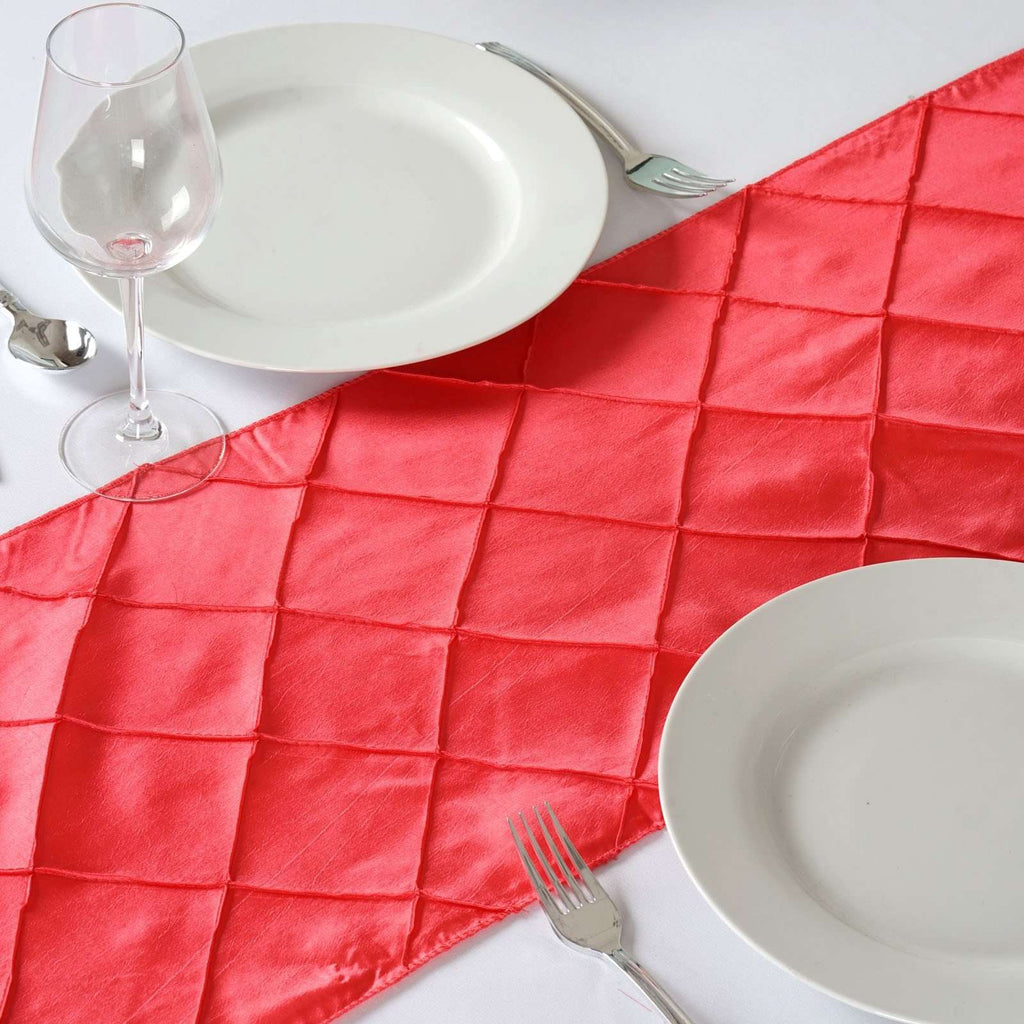Table Runner Pintuck - Coral