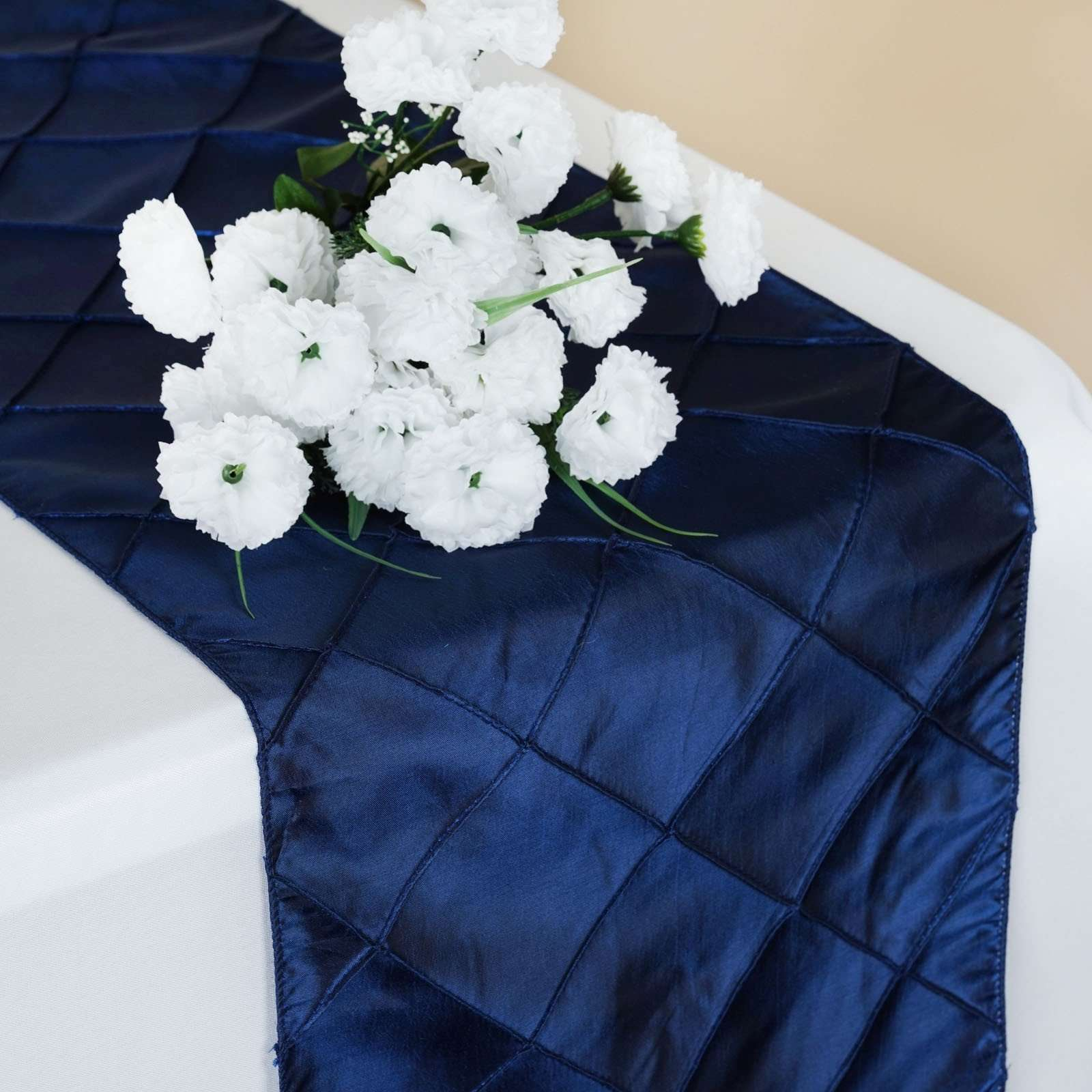 Wholesale Navy Blue Taffeta Pintuck Table Runner For Wedding Catering Party Decorations 12 X108