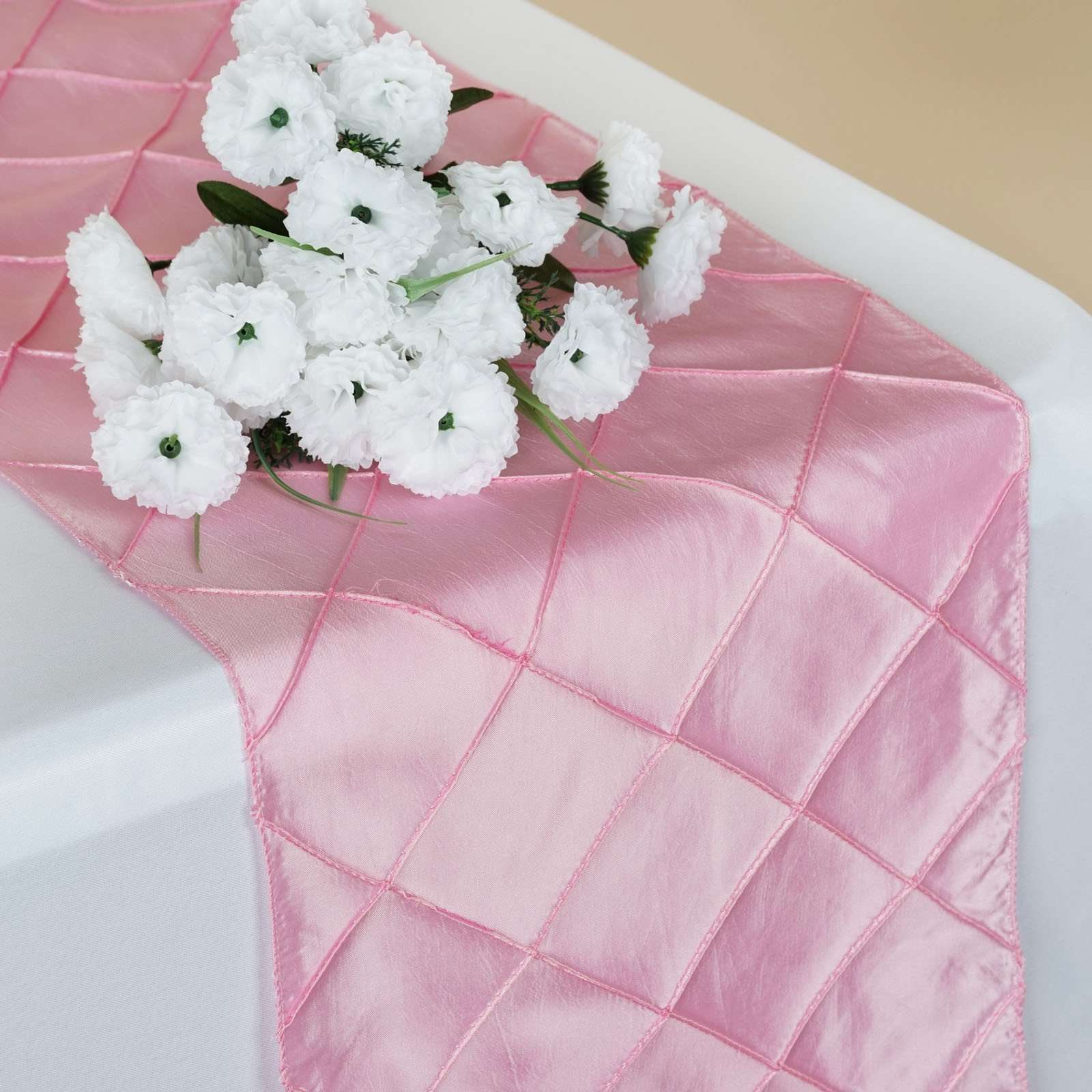 Wholesale Pink Taffeta Pintuck Table Runner For Wedding Catering ...