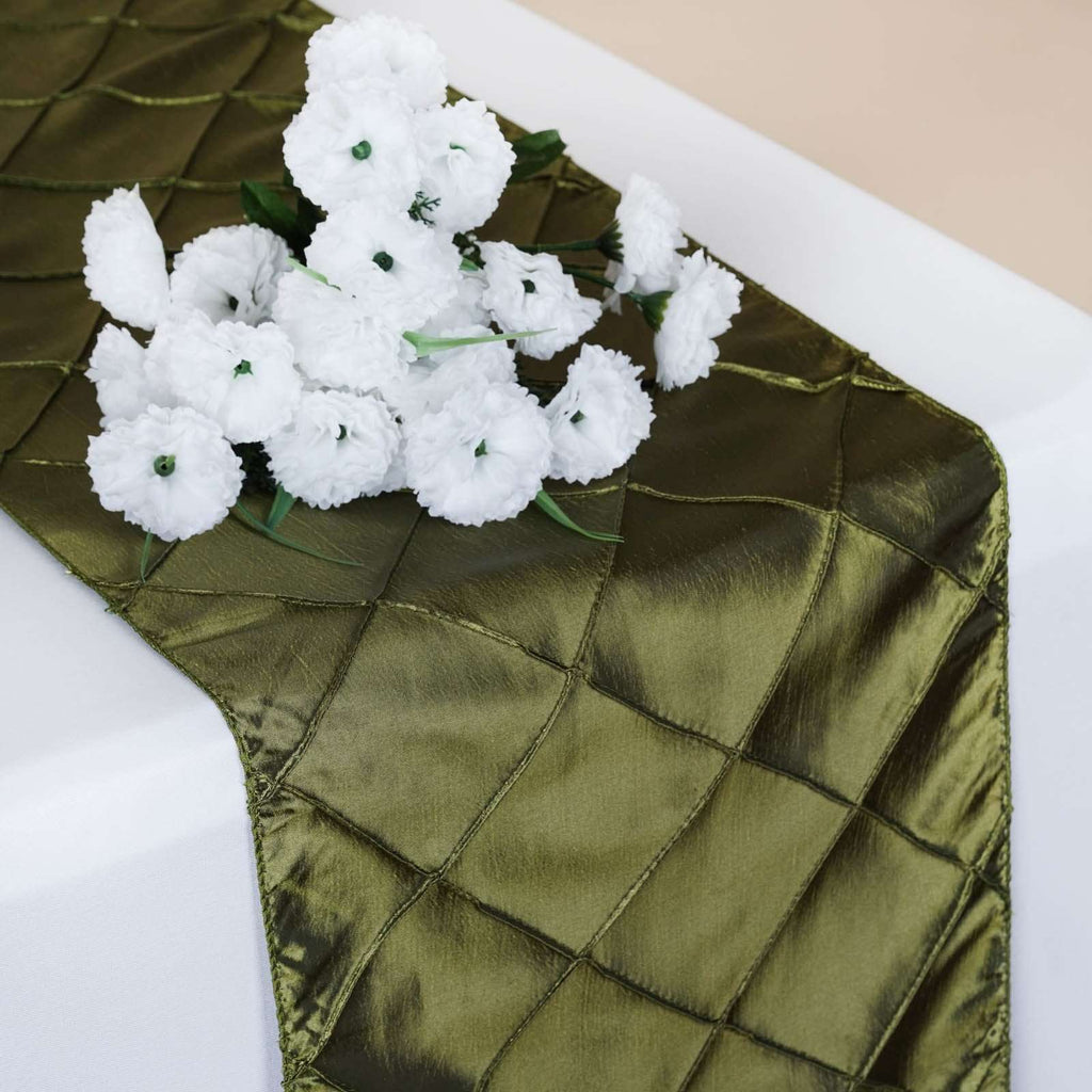 Table Runner Pintuck - Willow Green