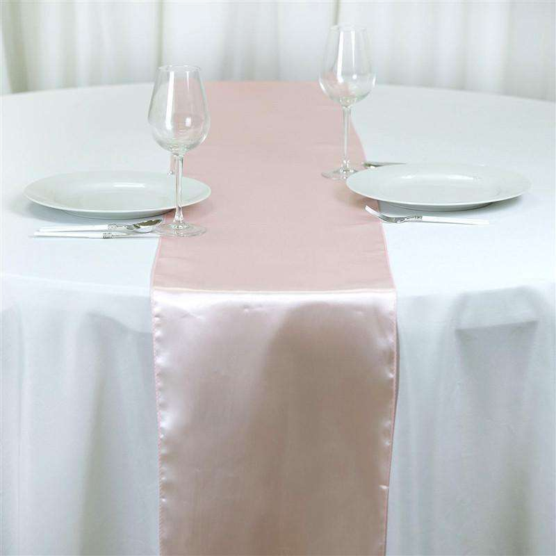 "Satin Table Runner - 12 x 108""- Rose Gold 