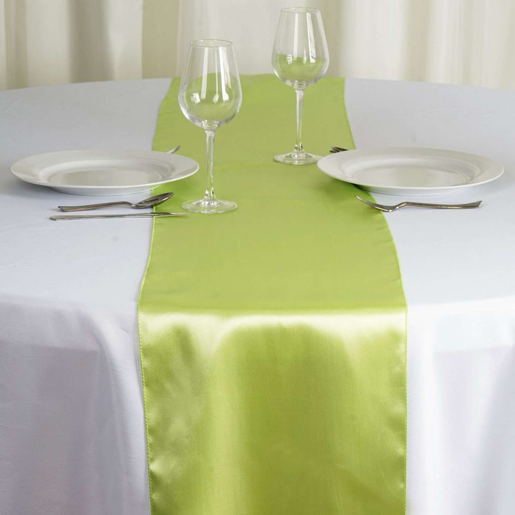 "12"" x 108"" SATIN Runner For Table Top Wedding Catering Party Decorations - Apple Green"