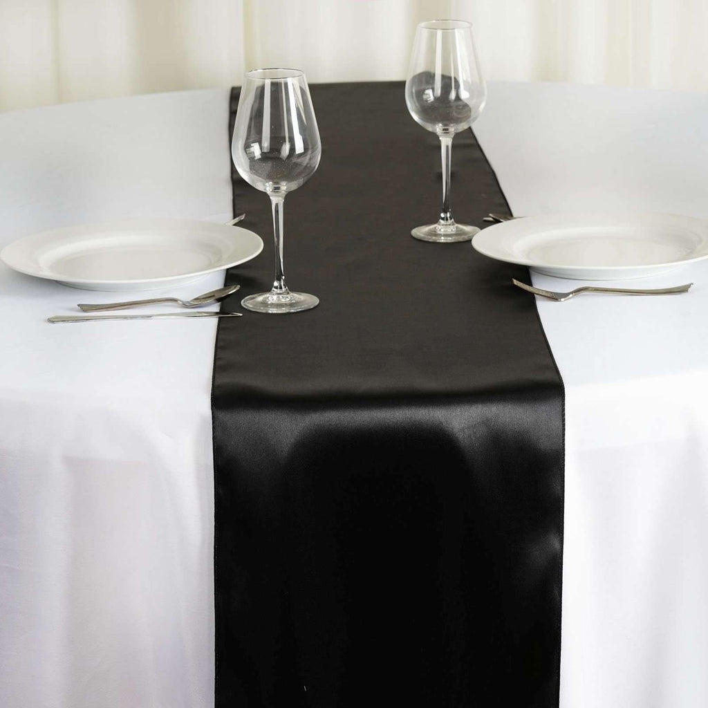 "12"" x 108"" SATIN Runner For Table Top Wedding Catering Party Decorations - Black"