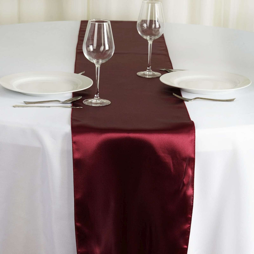 "12"" x 108"" SATIN Runner For Table Top Wedding Catering Party Decorations - Burgundy"