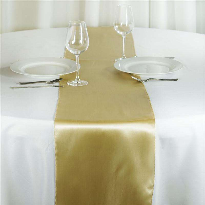 "12"" x 108"" SATIN Runner For Table Top Wedding Catering Party Decorations - Champagne"