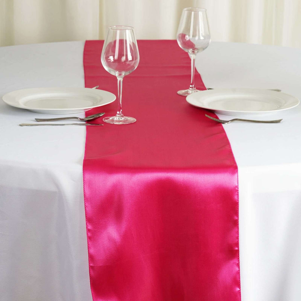 "12"" x 108"" SATIN Runner For Table Top Wedding Catering Party Decorations - Fushia"