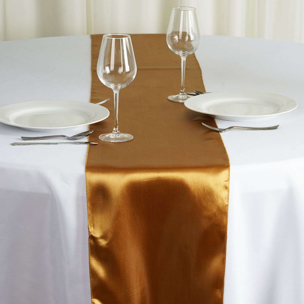 "12"" x 108"" SATIN Runner For Table Top Wedding Catering Party Decorations - Gold"