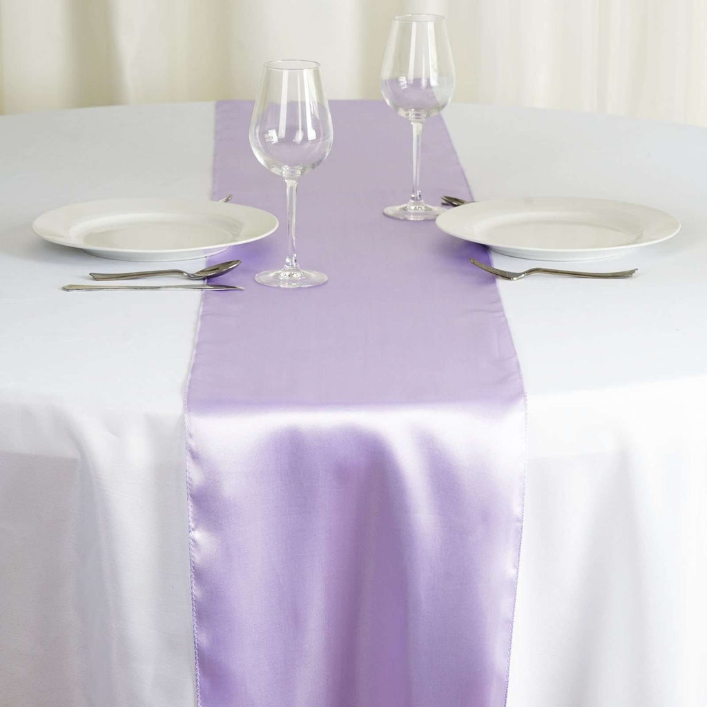 "12"" x 108"" SATIN Runner For Table Top Wedding Catering Party Decorations - Lavender"