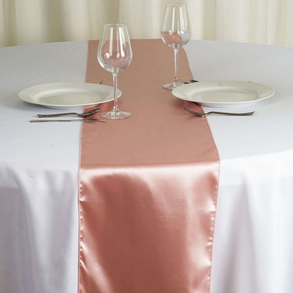 "12"" x 108"" SATIN Runner For Table Top Wedding Catering Party Decorations - Mauve"