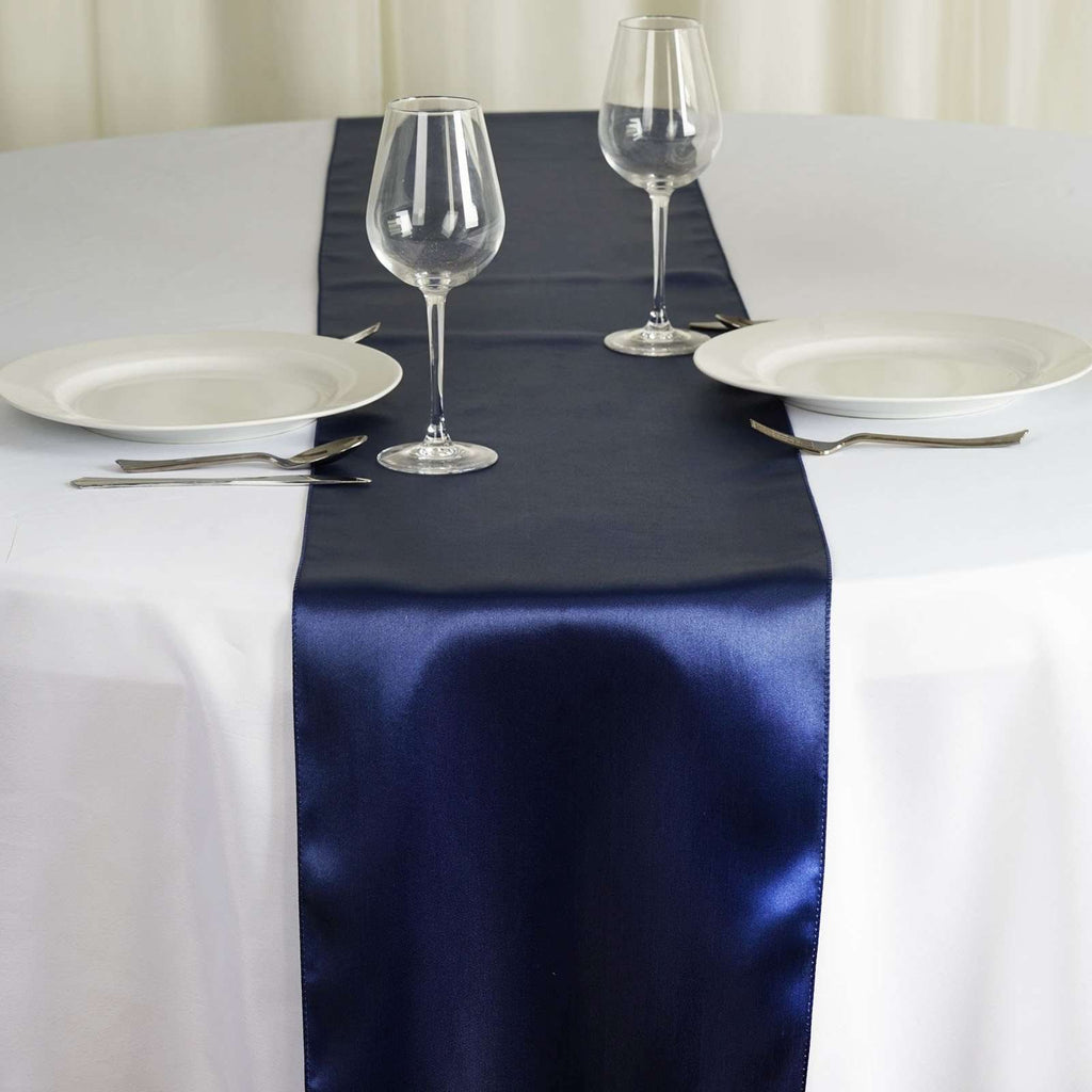 "12"" x 108"" SATIN Runner For Table Top Wedding Catering Party Decorations - Navy Blue"
