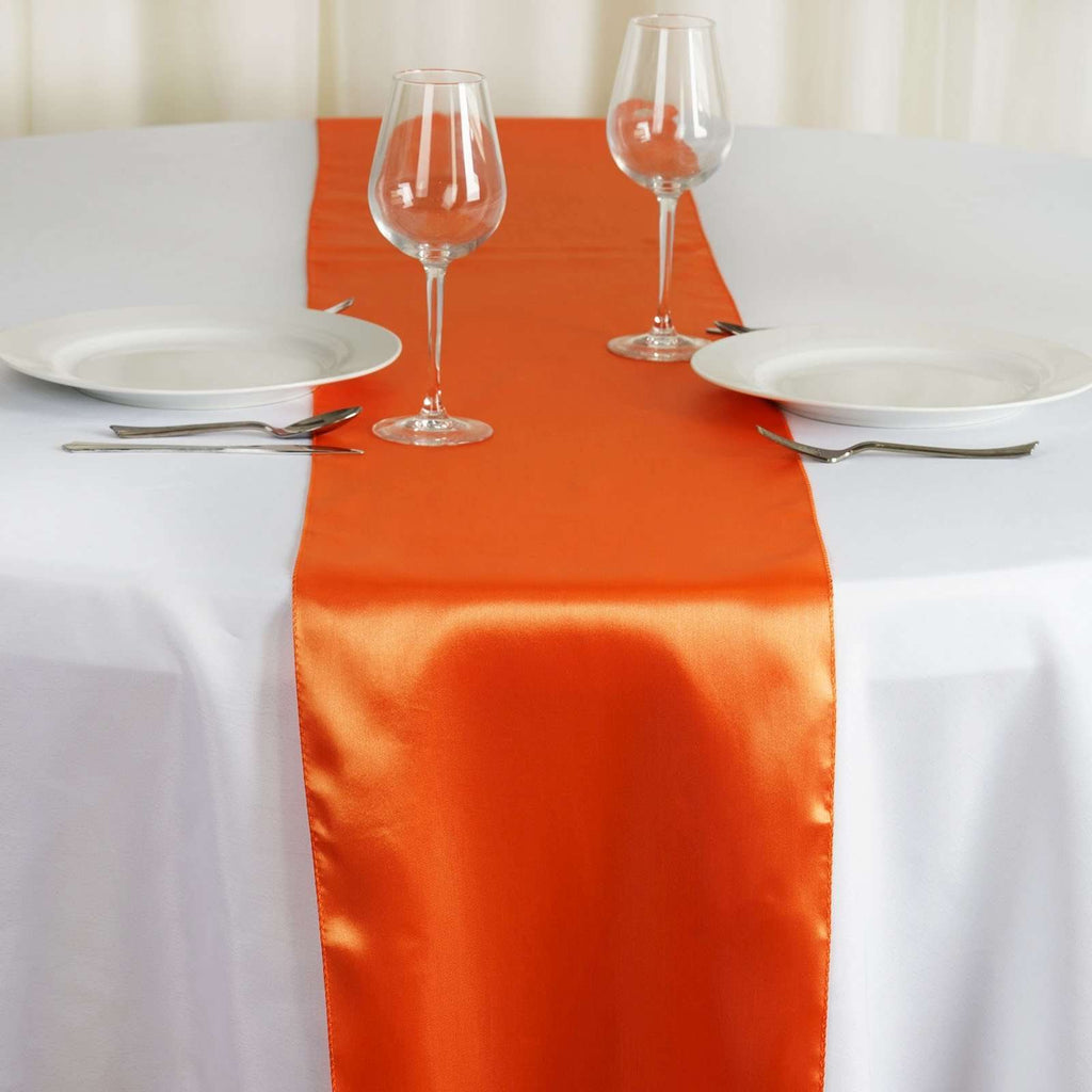 "12"" x 108"" SATIN Runner For Table Top Wedding Catering Party Decorations - Orange"