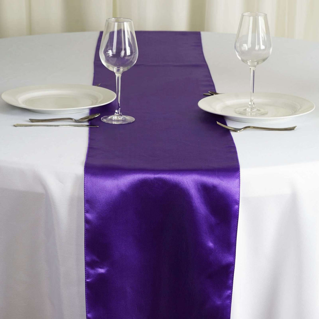 "12"" x 108"" SATIN Runner For Table Top Wedding Catering Party Decorations - Purple"