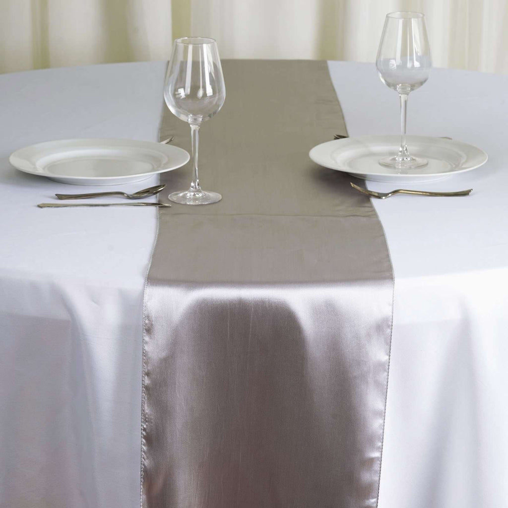 "12"" x 108"" SATIN Runner For Table Top Wedding Catering Party Decorations - Silver"