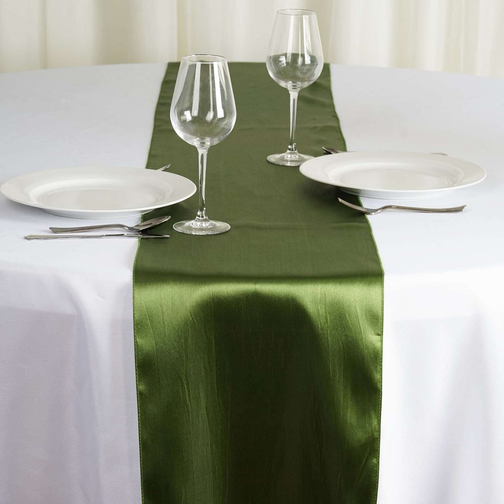 "12"" x 108"" SATIN Runner For Table Top Wedding Catering Party Decorations - Willow Green"