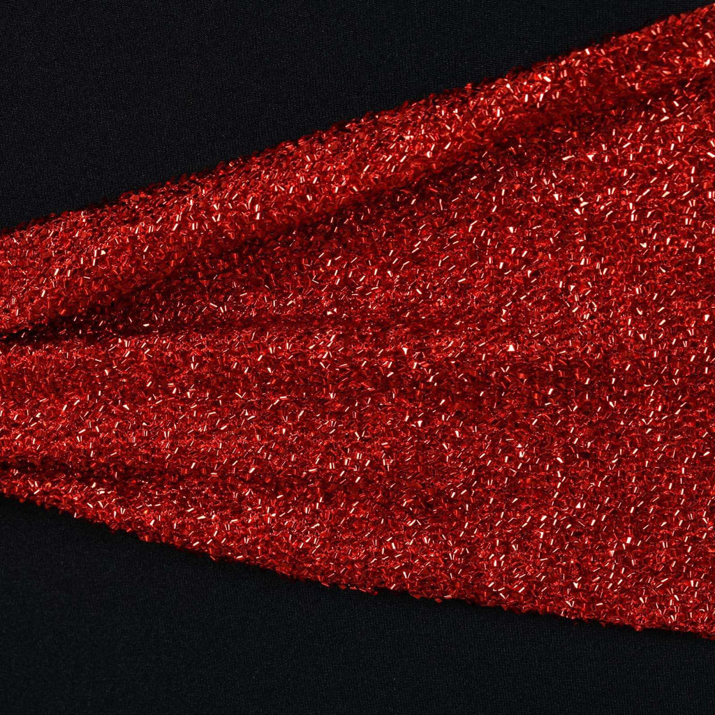 5 Pack Red Metallic Shiny Glittered Spandex Chair Sashes For Wedding Party