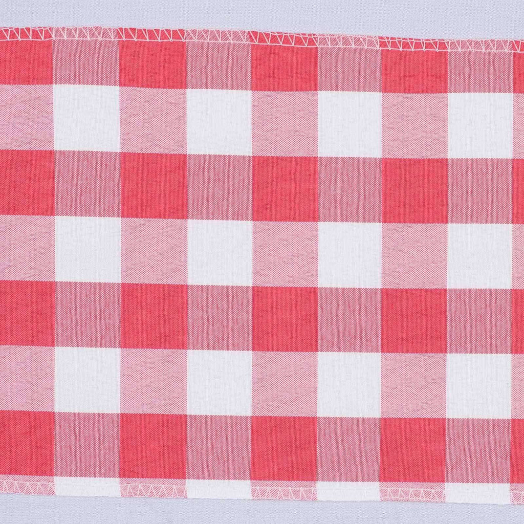 5 PCS Coral/White Gingham Polyester Chair Sashes - 6x108""