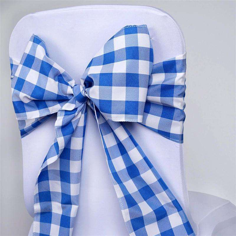 Pleasing 5 Pcs Royal Blue White Gingham Polyester Chair Sashes Tie Bows Catering Outdoor Party Decorations 6X108 Chaircoverfactory Andrewgaddart Wooden Chair Designs For Living Room Andrewgaddartcom