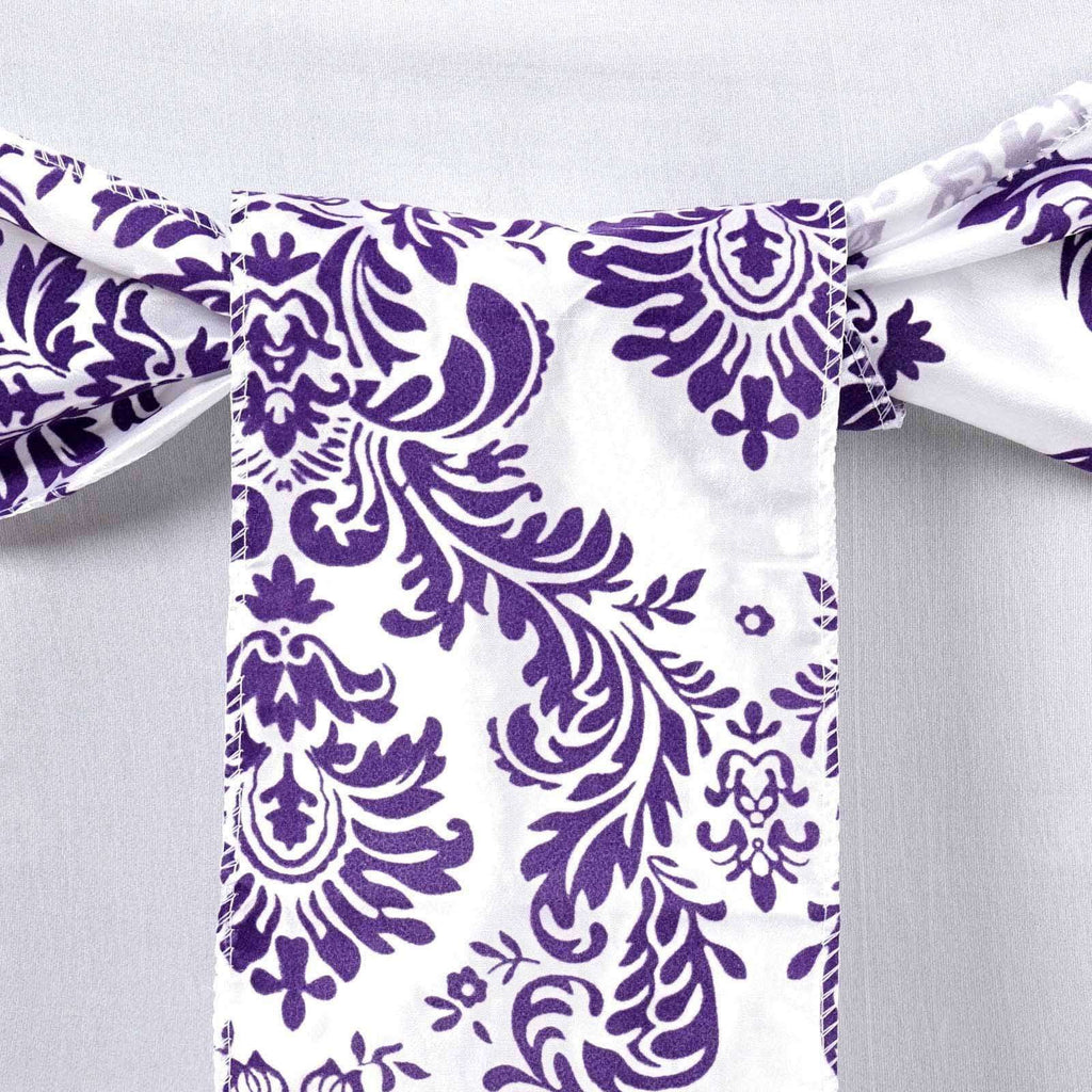 5pc x Chair Sash Flocking - White / Purple (CLOSEOUT PRICING / NO RETURNS)