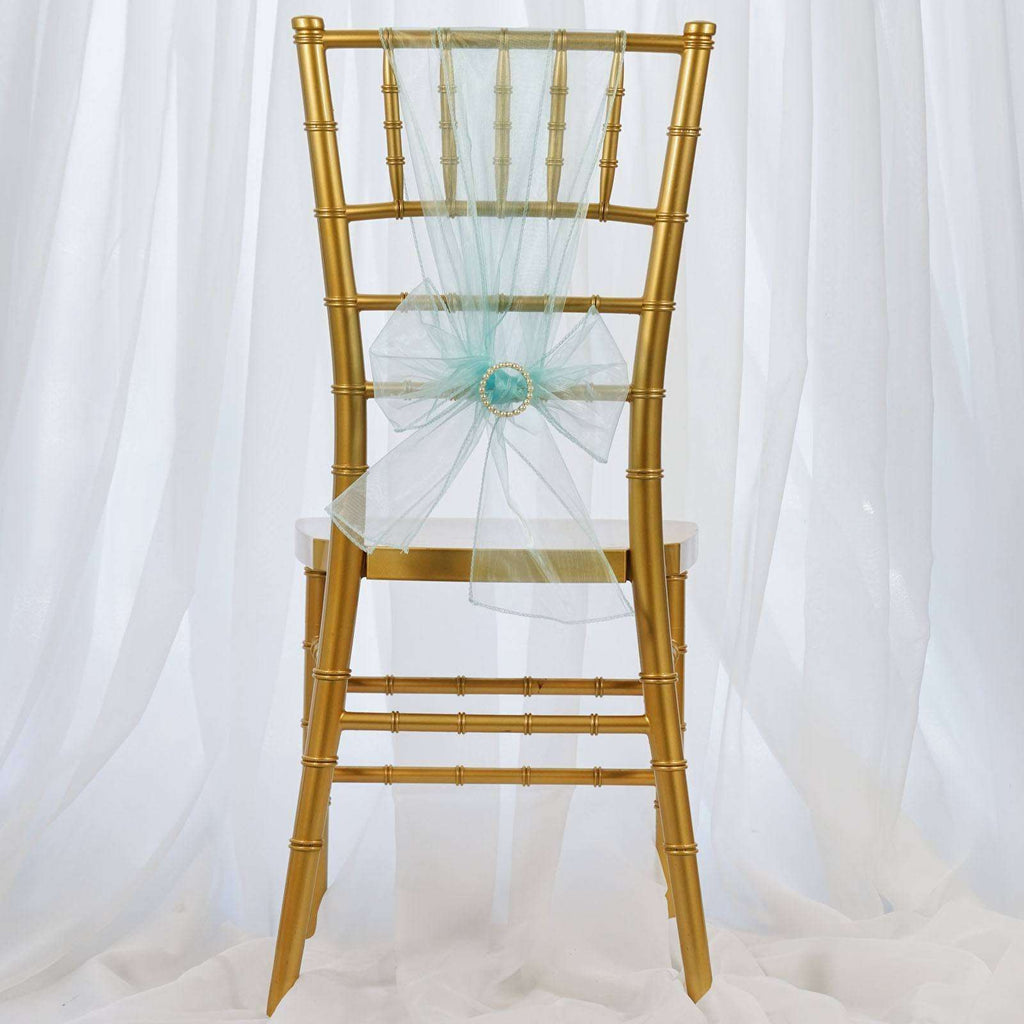 5pc x Light Blue Organza Chair Sash