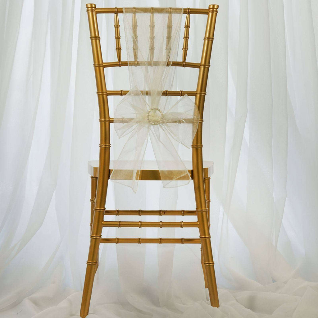 5pc x Ivory Organza Chair Sash