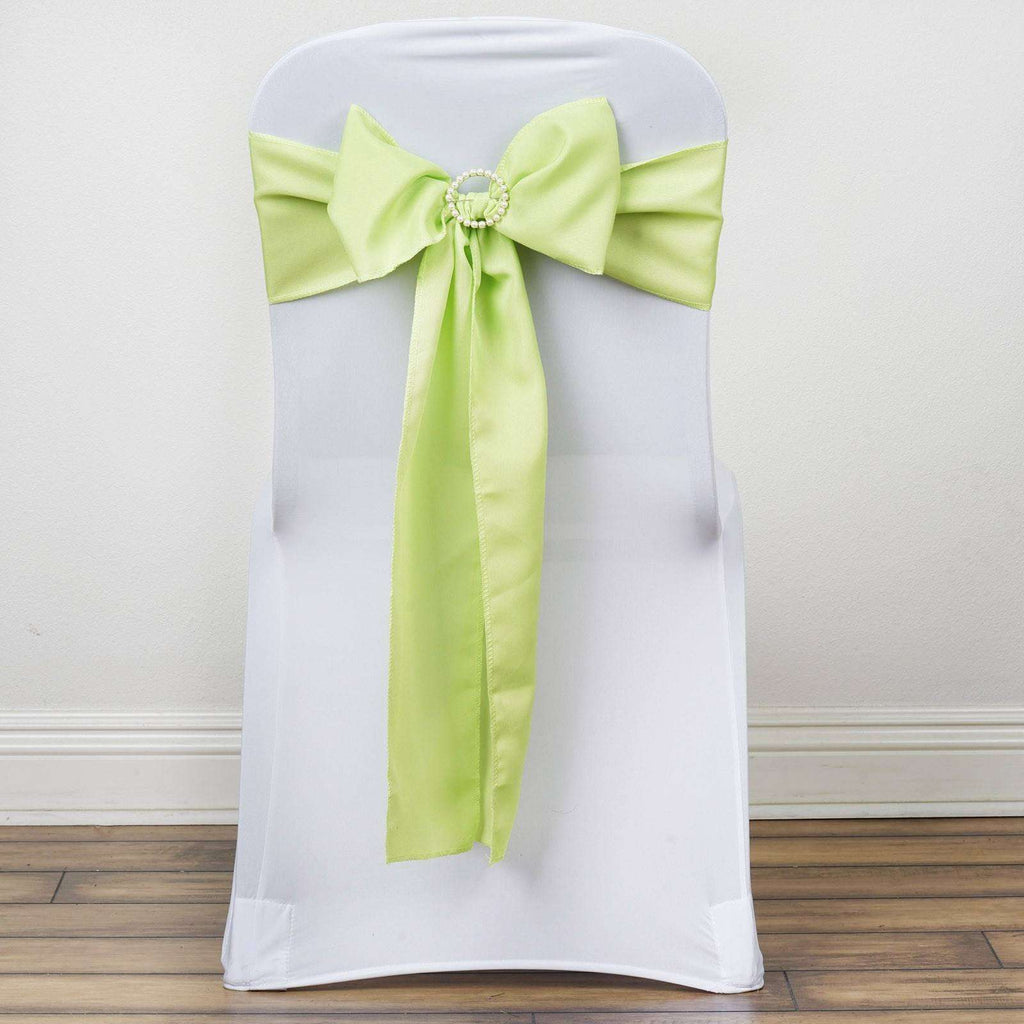 5 PCS APPLE GREEN Polyester Chair Sashes Tie Bows Catering Wedding Party Decorations - 6x108""