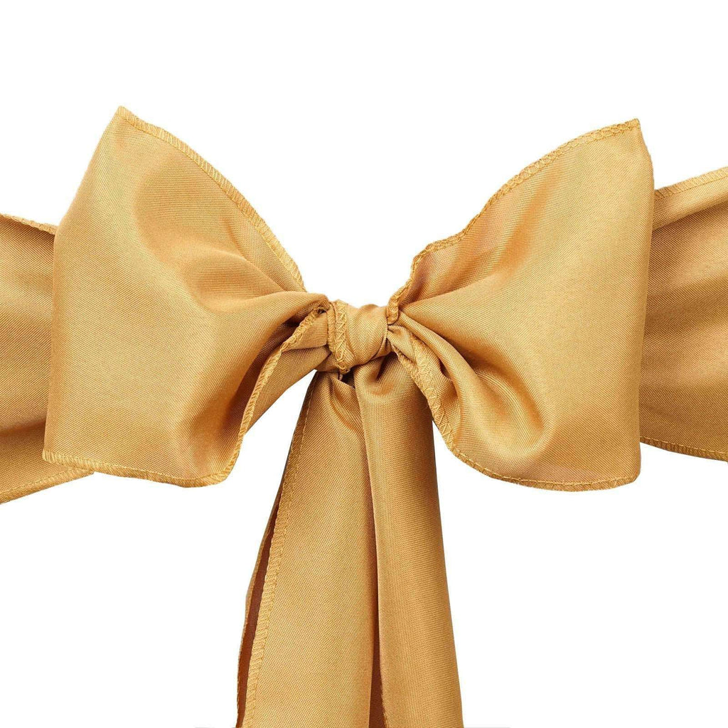 5 PCS ANTIQUE GOLD Polyester Chair Sashes Tie Bows Catering Wedding Party Decorations - 6x108""