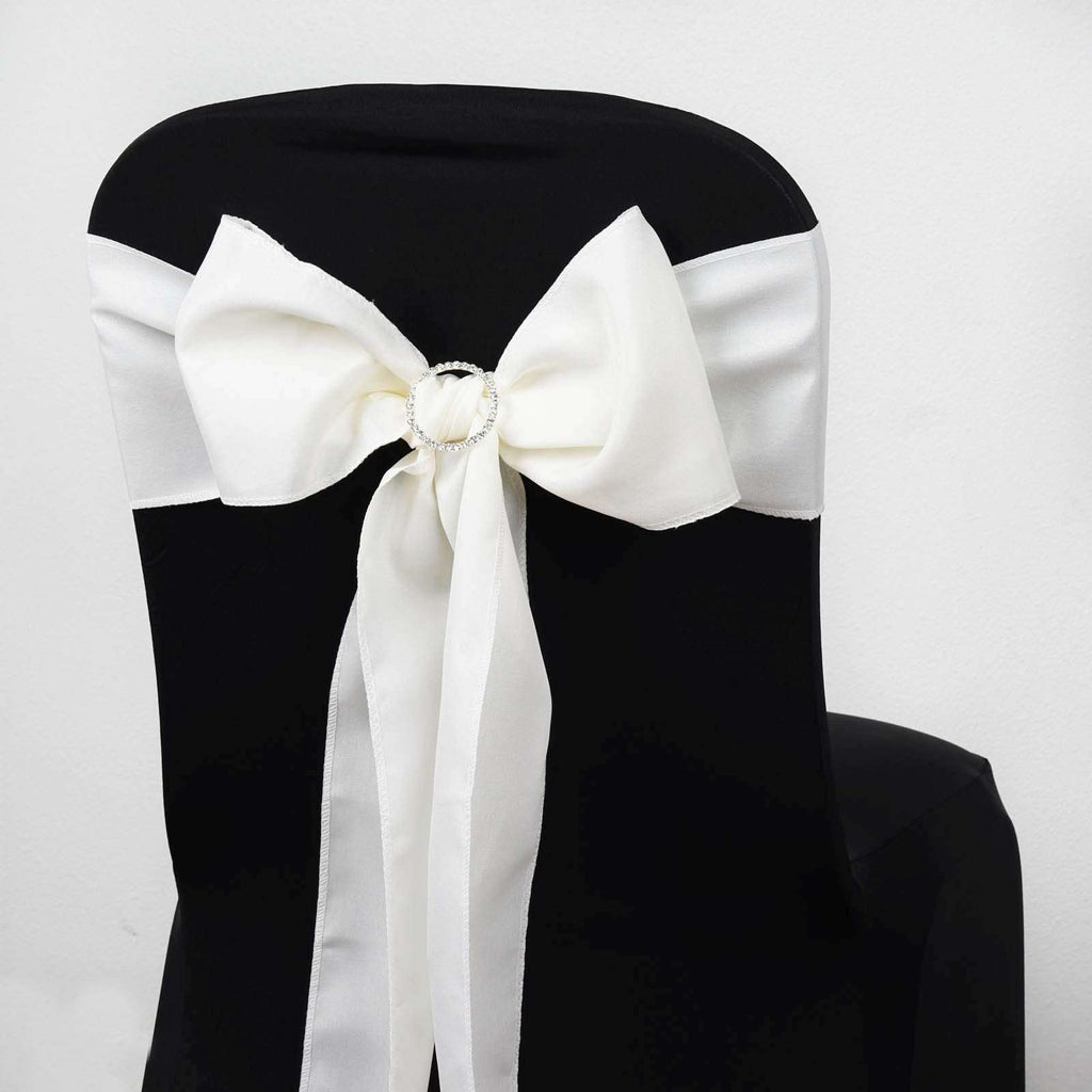 5 PCS IVORY Polyester Chair Sashes Tie Bows Catering Wedding Party Decorations - 6x108""