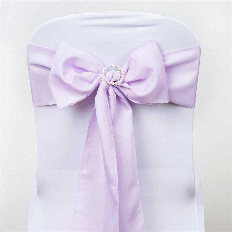 5 PCS x LAVENDER Polyester Chair Sashes Tie Bows Catering Wedding Party Decorations