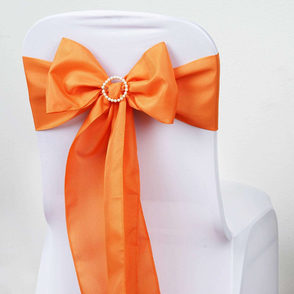 5 PCS ORANGE Polyester Chair Sashes Tie Bows Catering Wedding Party Decorations - 6x108""