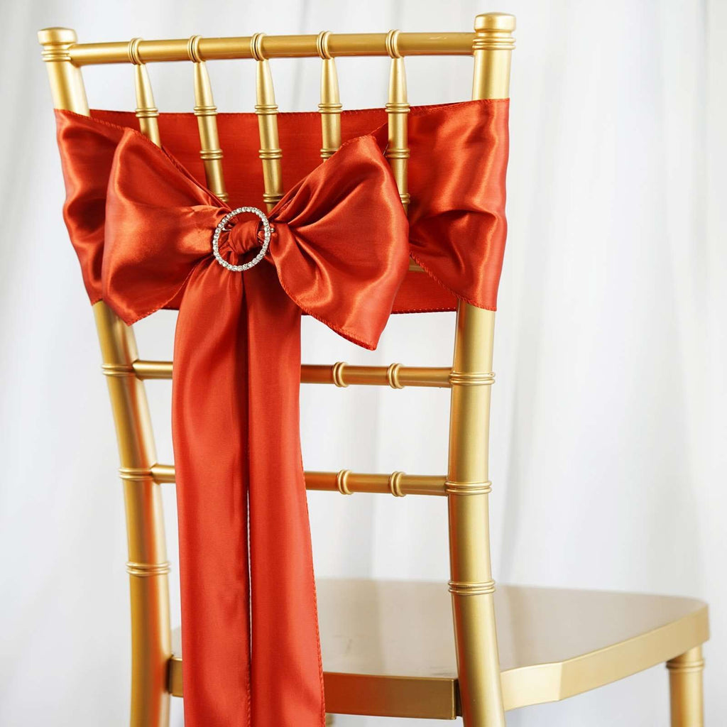 5pcs Burnt Orange SATIN Chair Sashes Tie Bows Catering Wedding Party Decorations - 6x106""