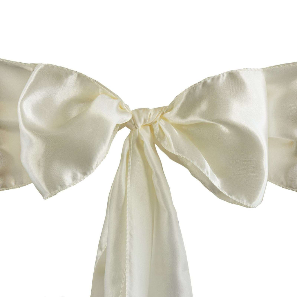 5pcs Ivory SATIN Chair Sashes Tie Bows Catering Wedding Party Decorations - 6x106""