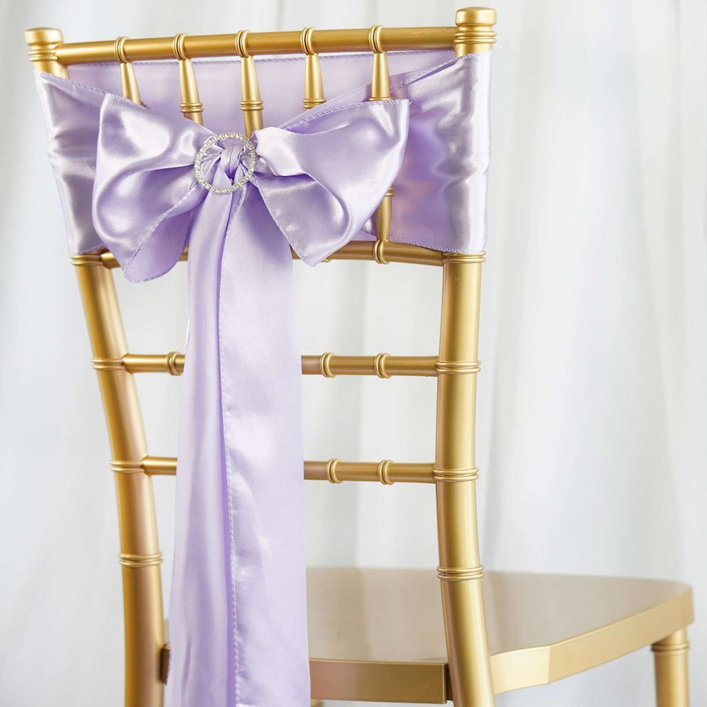 5pcs Lavender SATIN Chair Sashes Tie Bows Catering Wedding Party Decorations - 6x106""