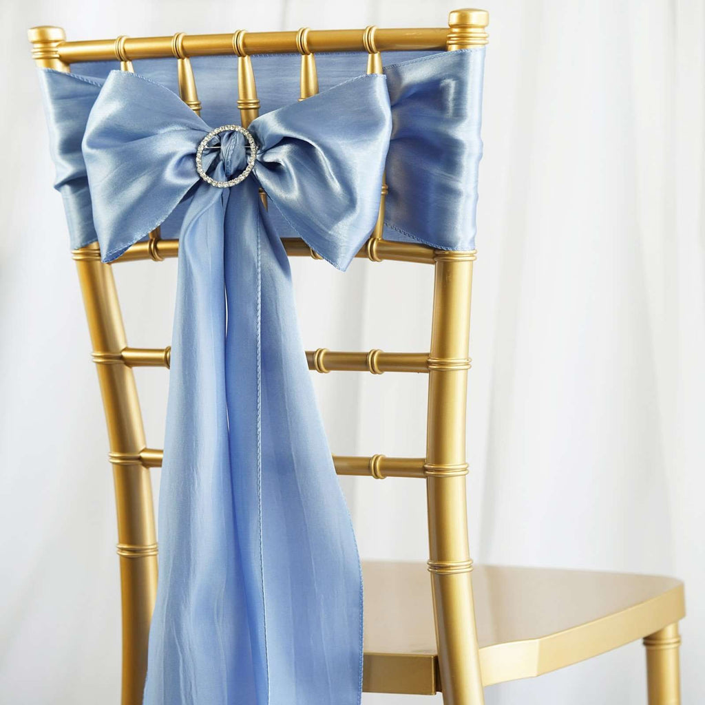 5pcs Serenity Blue SATIN Chair Sashes Tie Bows Catering Wedding Party Decorations - 6x106""