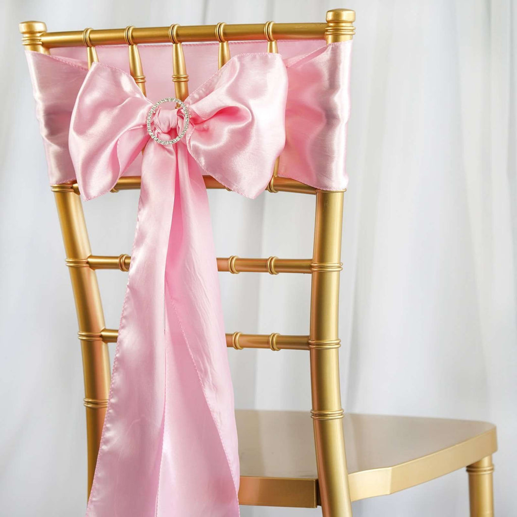5pcs Pink SATIN Chair Sashes Tie Bows Catering Wedding Party Decorations - 6x106""
