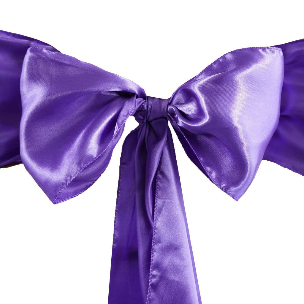 Satin Chair Sash | Purple | Event Decoration Supplies | 5pcs | 6 x 106""