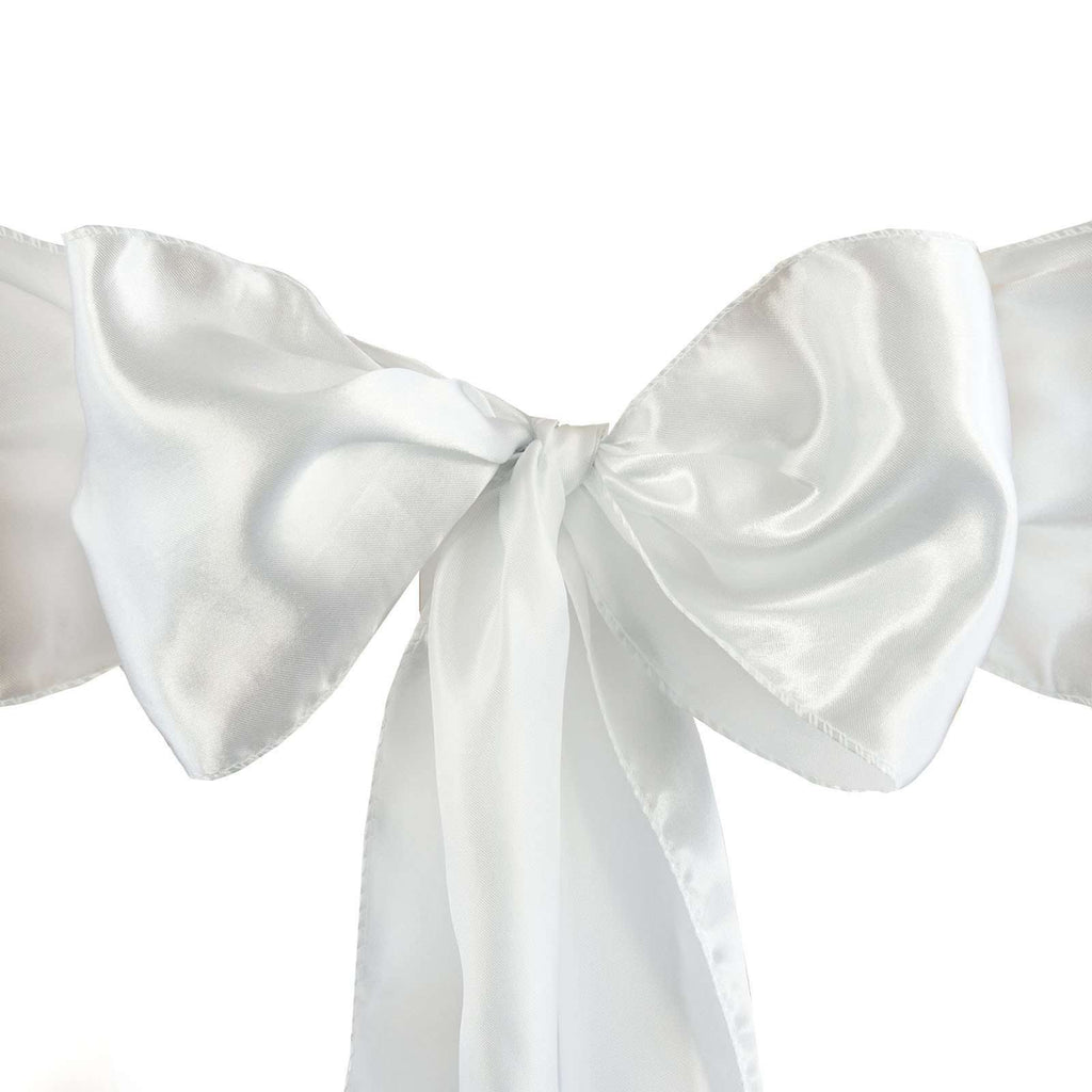 Satin Chair Sash | White | Event Decoration Supplies | 5pcs | 6 x 106""