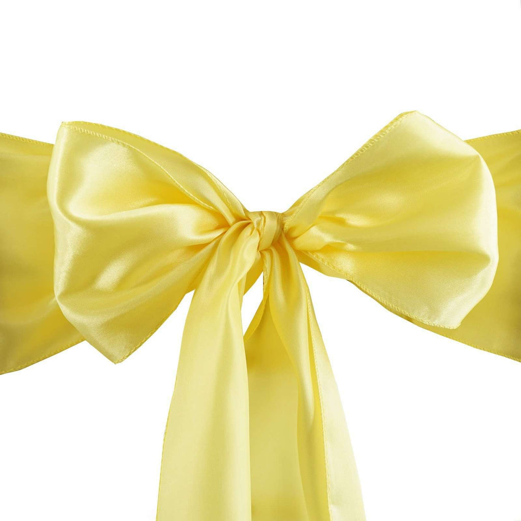 5pcs Yellow SATIN Chair Sashes Tie Bows Catering Wedding Party Decorations - 6x106""