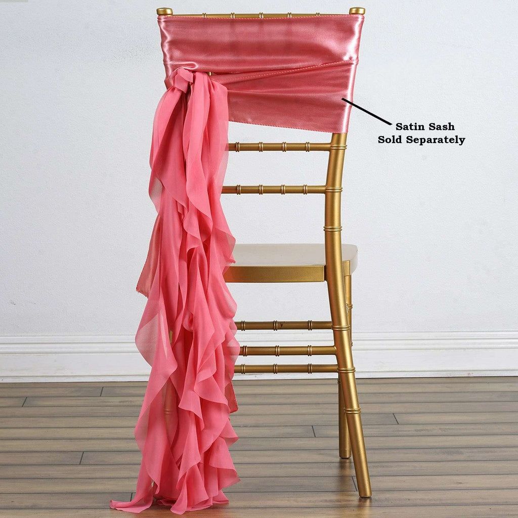 Chiffon ROSE QUARTZ Curly Willow Chair Sashes For Catering Wedding Party Decorations