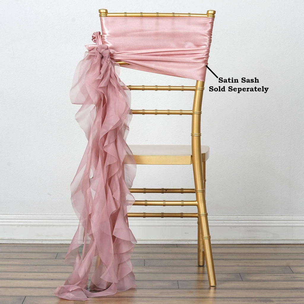 Chiffon Dusty Rose Curly Willow Chair Sashes For Catering Wedding Party Decorations