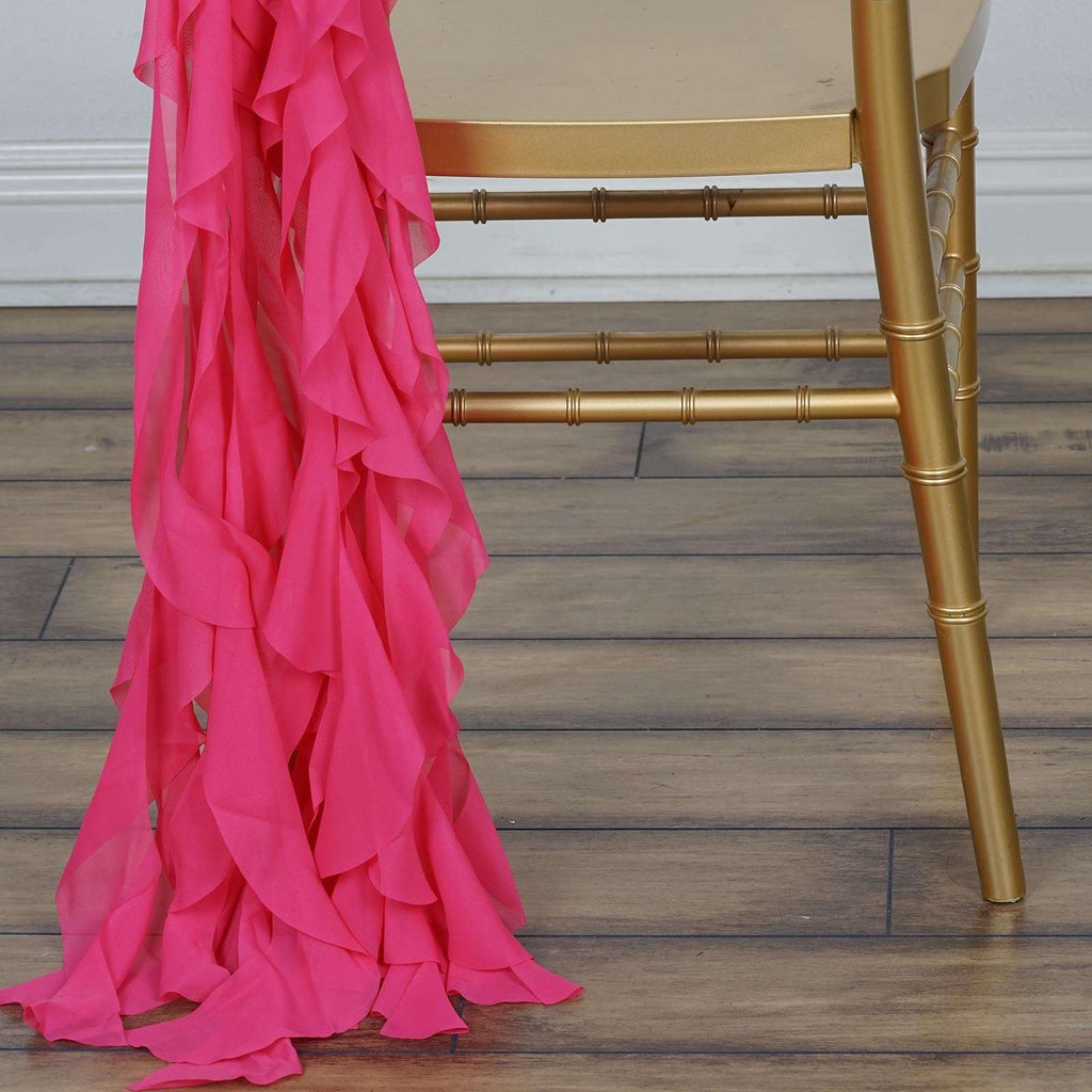 Chiffon Fushia Curly Willow Chair Sashes For Catering Wedding Party Decorations