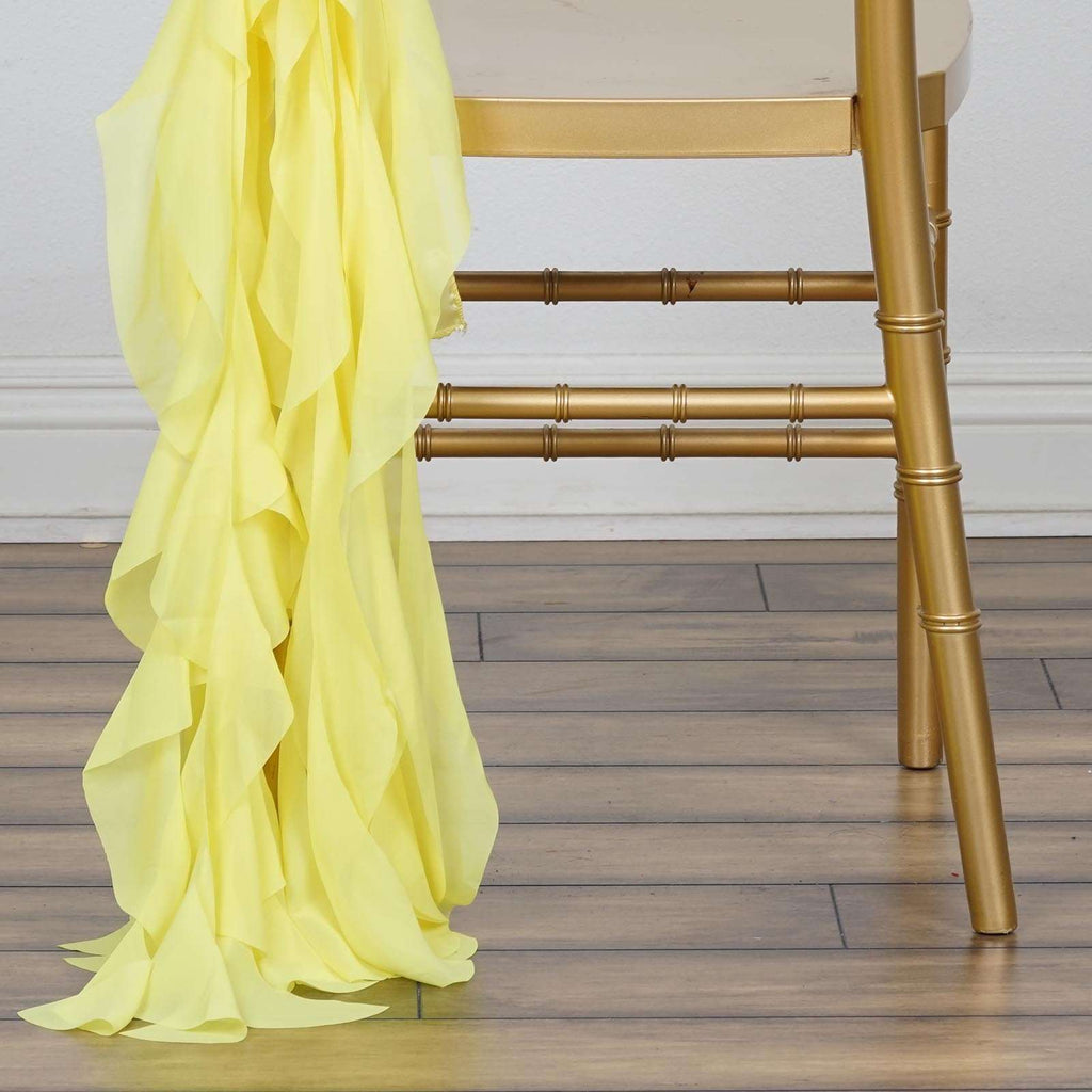 Chiffon Yellow Curly Willow Chair Sashes For Catering Wedding Party Decorations