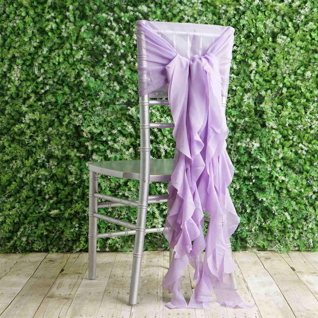 1 Set Lavender Premium Designer Curly Willow Chiffon Chair Sashes