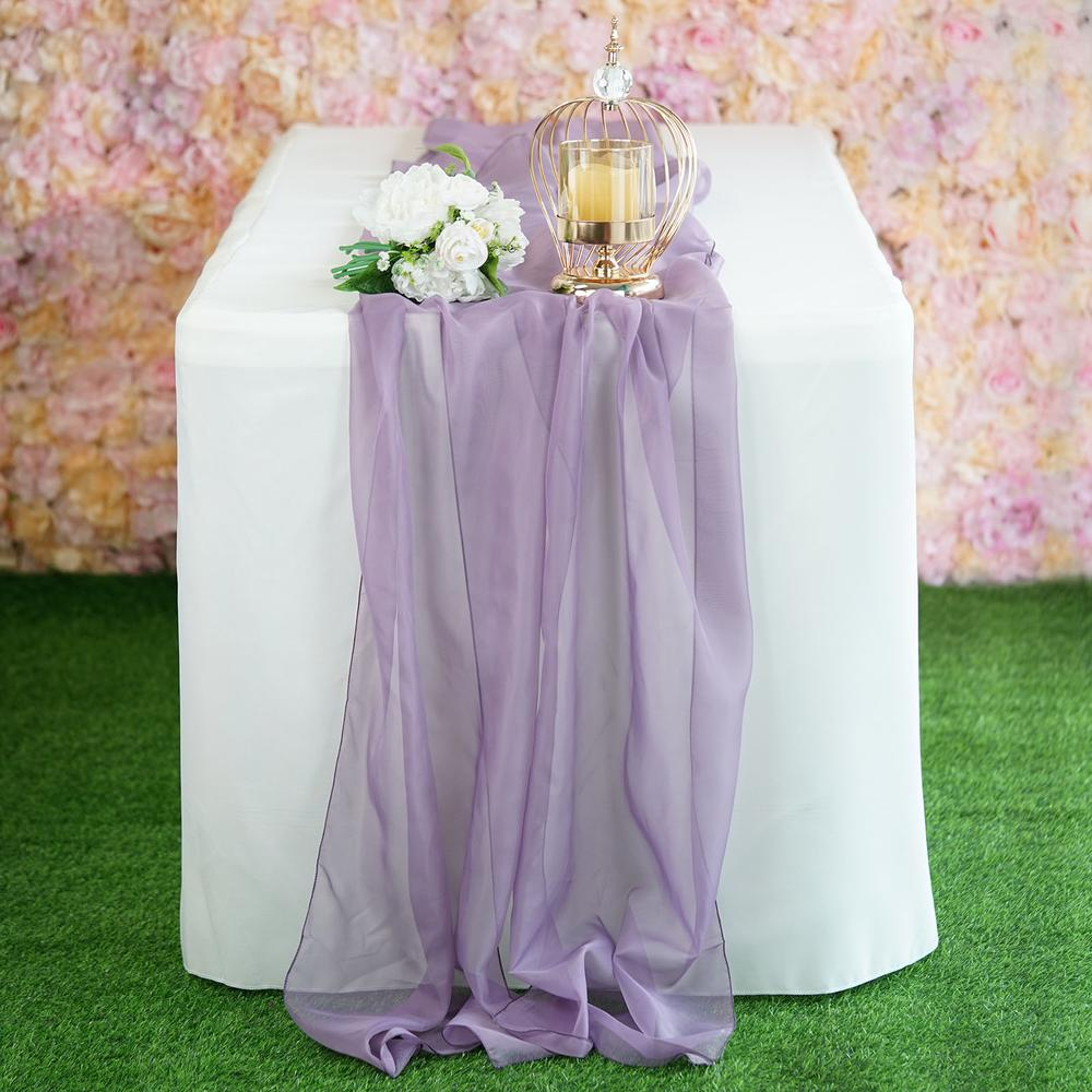 "22"" x 80"" Amethyst Premium Chiffon Table Runner"