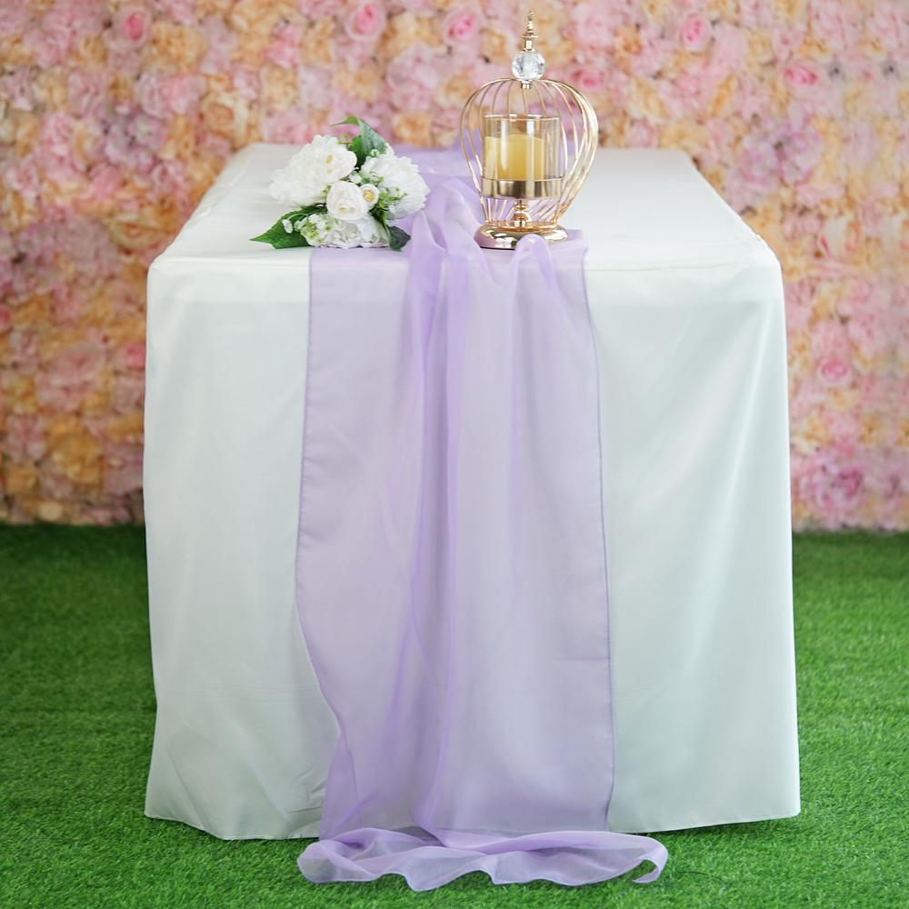 "22"" x 80"" Lavender Premium Chiffon Table Runner"