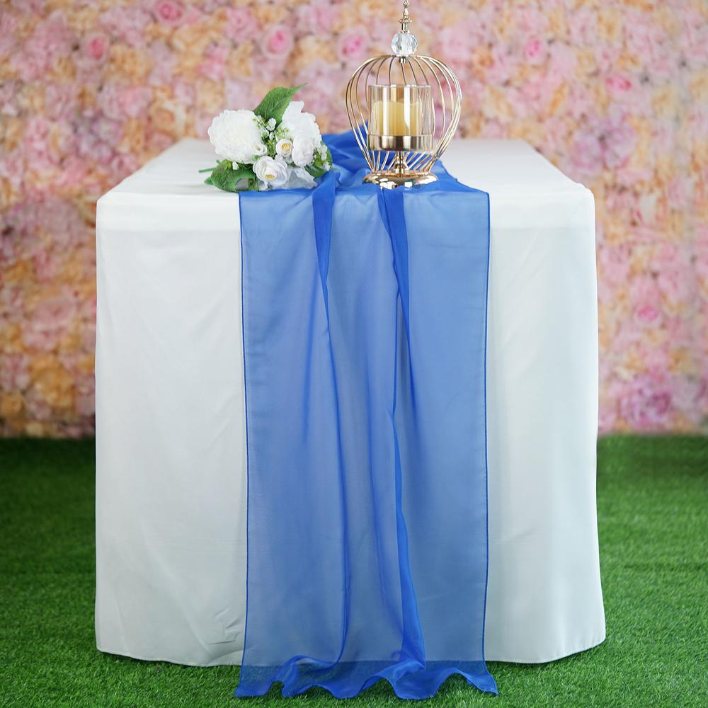 "22"" x 80"" Royal Blue Premium Chiffon Table Runner"