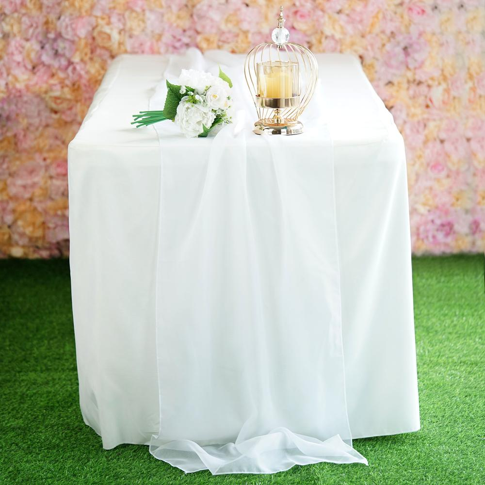 "22"" x 80"" White Premium Chiffon Table Runner"