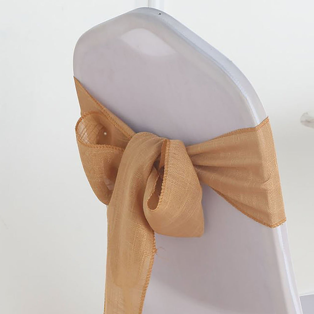 5 Pack | Natural Premium Faux Linen Chair Sashes, Slubby Textured Wrinkle Free Sashes