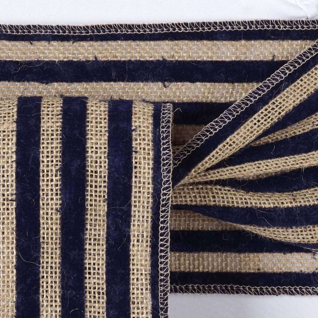Stripe Rustic Burlap Chair Sash - Natural Tone w/ Navy Blue