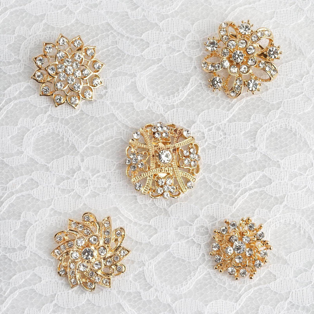 5 Pcs | Assorted Gold Plated Mandala Crystal Rhinestone Brooches | Floral Sash Pin Brooch Bouquet Decor