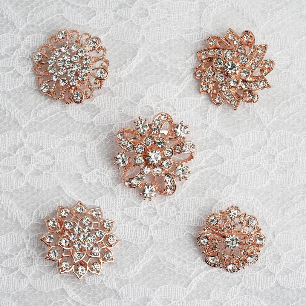 5 Pcs | Assorted Rose Gold Plated Mandala Crystal Rhinestone Brooches | Floral Sash Pin Brooch Bouquet Decor